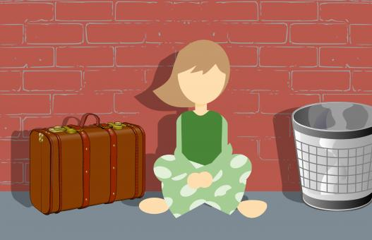 Free Stock Photo of Homeless Girl Illustration