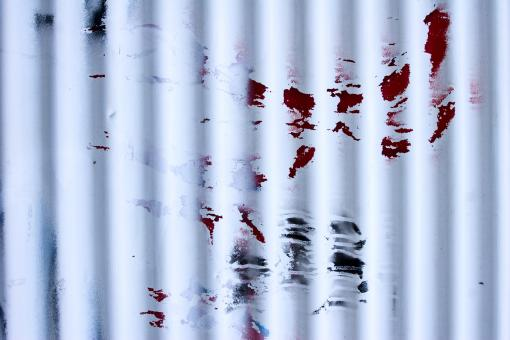 Free Stock Photo of Red Paint on Corrugated Metal