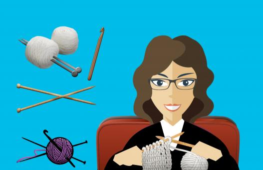 Free Stock Photo of Woman Knitting Illustration