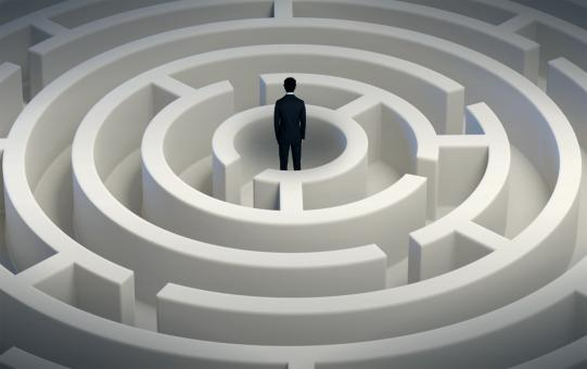 Free Stock Photo of Man Inside Maze - Thinking Through Options