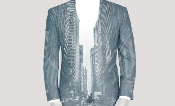 Free Stock Photo of Double Exposure of Businessman Over Cityscape