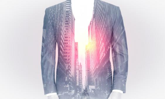 Free Stock Photo of Double Exposure of Man Over Cityscape and Lens Flare