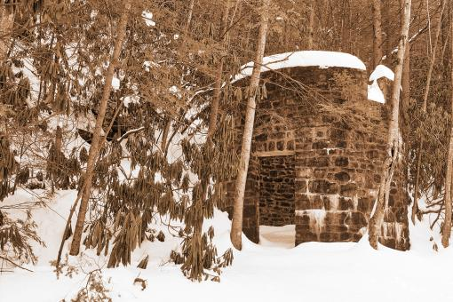 Free Stock Photo of Winter Lehigh Ruins - Sepia Nostalgia
