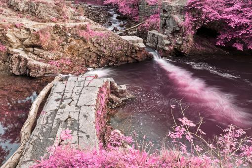 Free Stock Photo of Brecon Beacons River Ruins - Pink Fantasy