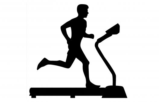 Free Stock Photo of Man Running on Treadmill Silhouette