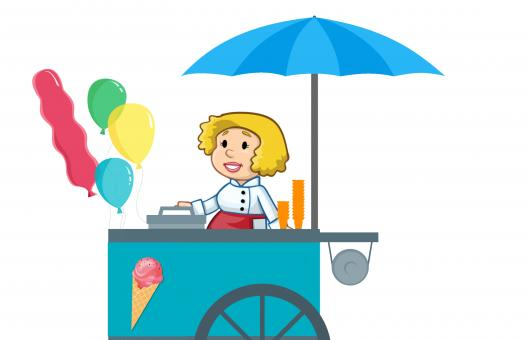 Free Stock Photo of Ice Cream Cart Illustration