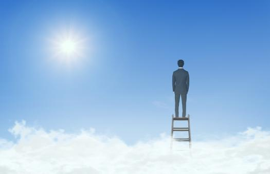 Free Stock Photo of Businessman On Top of Ladder Above the Clouds