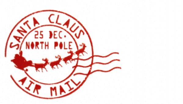 Free Stock Photo of Red Santa Claus Christmas Post Mark Stamp