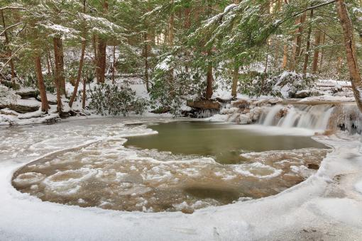 Free Stock Photo of Winter Circle Stream - Tolliver Falls