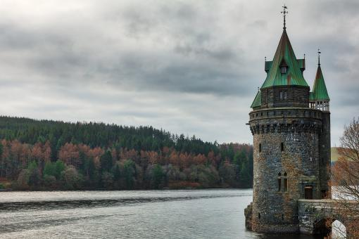 Free Stock Photo of Lake Vyrnwy Tower