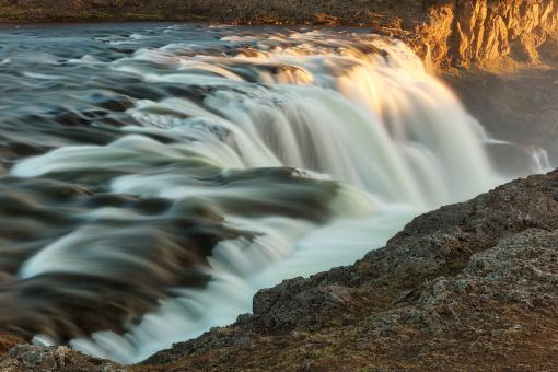 Free Stock Photo of Golden Hour Waterfall - Kolufoss