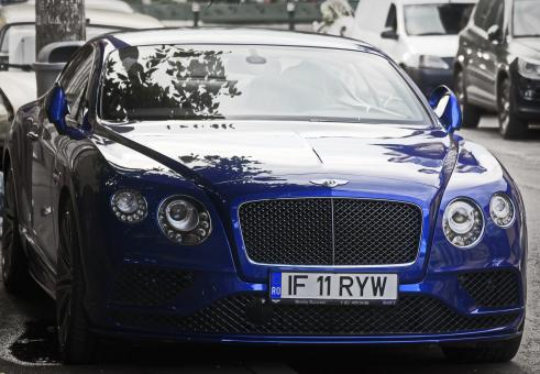 Free Stock Photo of Blue Bentley Luxury Car