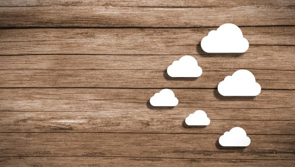 Free Stock Photo of Cloud Computing - Wooden Background with Copyspace
