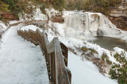Free Stock Photo of Winding Winter Waterfall - Blackwater Falls