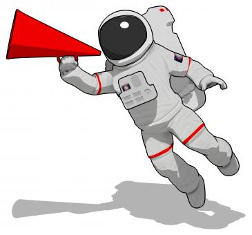 Free Stock Photo of Astronaut with Megaphone