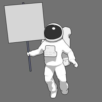 Free Stock Photo of Astronaut with a Sign