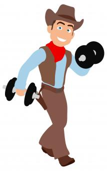 Free Stock Photo of Fun Cowboy Lifting Weights