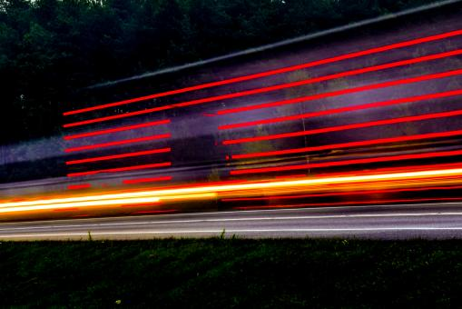 Free Stock Photo of Light Trails of Fast Cars