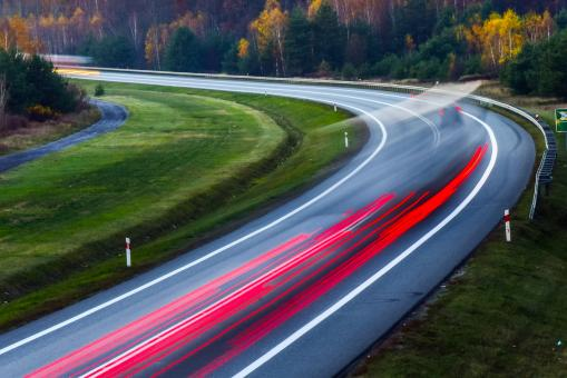 Free Stock Photo of Light Trails of Cars on the Highway