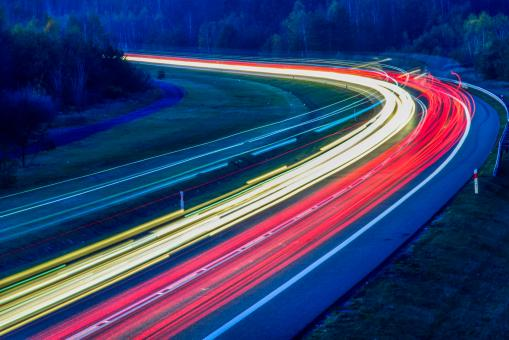 Free Stock Photo of Long Exposure of Highway Traffic