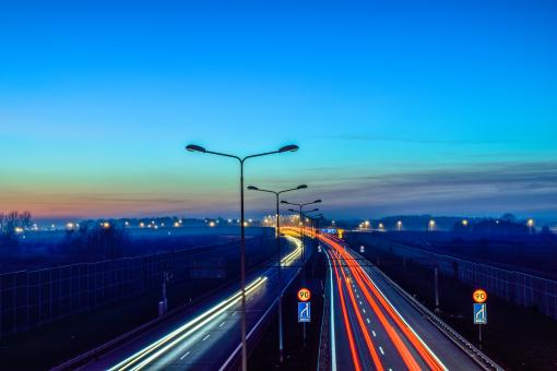 Free Stock Photo of Highway Traffic - Long Exposure