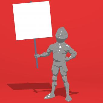 Free Stock Photo of Knight Holding a Blank Sign