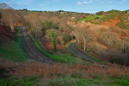 Free Stock Photo of Winding Jersey Road