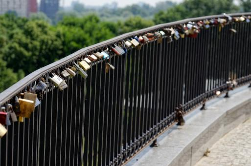 Free Stock Photo of Padlock on Bridge Rail