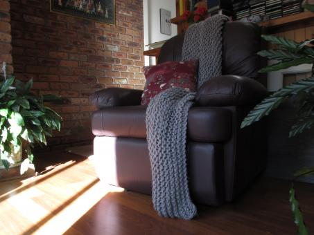 Free Stock Photo of Comfy couch in sunny room