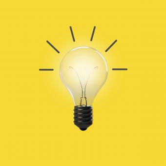 Free Stock Photo of Good Idea - Concept with Light Bulb - Yellow Background