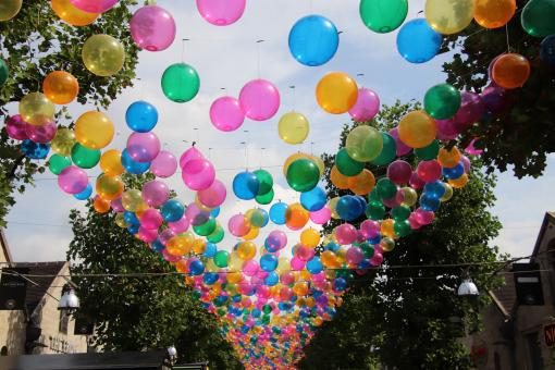 Free Stock Photo of Thousand balloons as street decoration