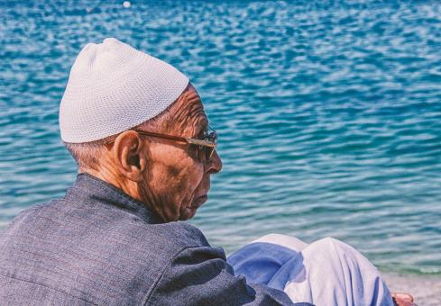 Free Stock Photo of Old Man by the Egypt Sea