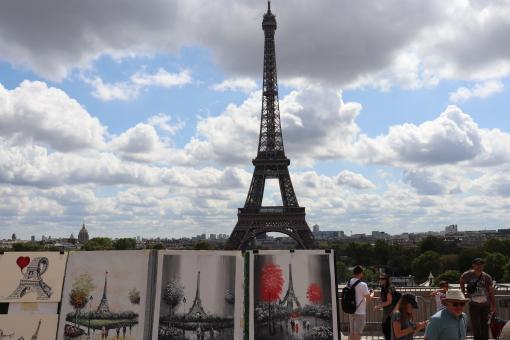 Free Stock Photo of Painting of Eiffel Tower, real Tower in background