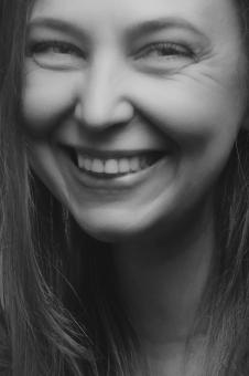 Free Stock Photo of Portrait of happy woman - Black and white