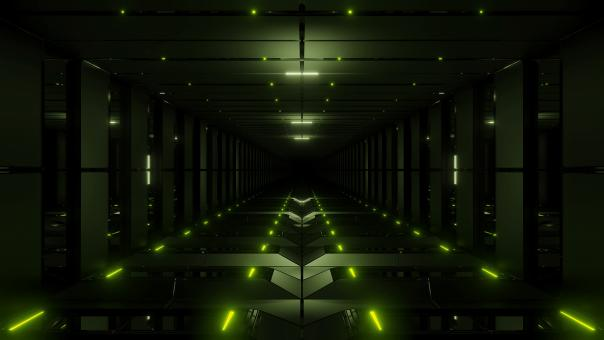 Free Stock Photo of Green tunnel corridor 3d rendering