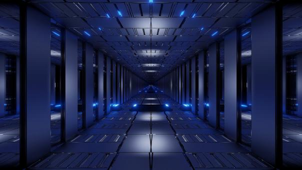 Free Stock Photo of Blue tunnel corridor 3d rendering illustration