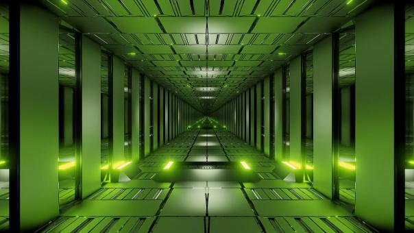 Free Stock Photo of Green tunnel corridor 3d rendering wallpaper