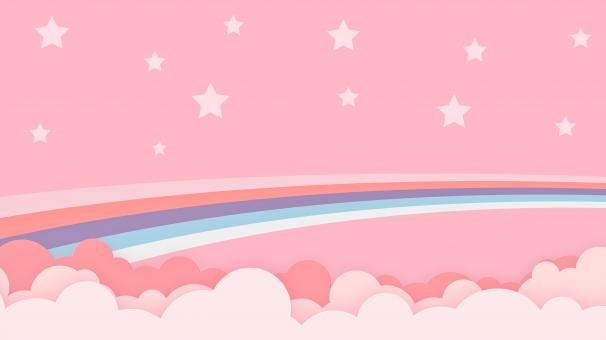 Free Stock Photo of Abstract Pink Kawaii Cloud & Rainbow Background