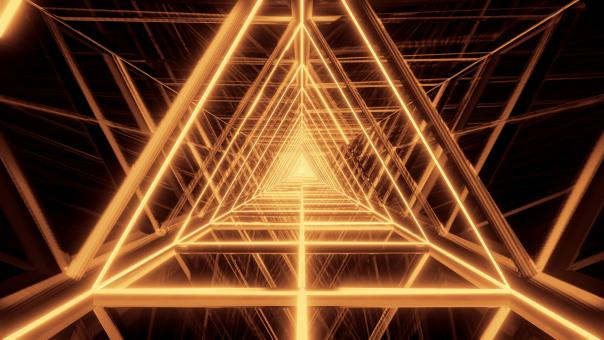 Free Stock Photo of Abstract glowing golden triangle wireframe background