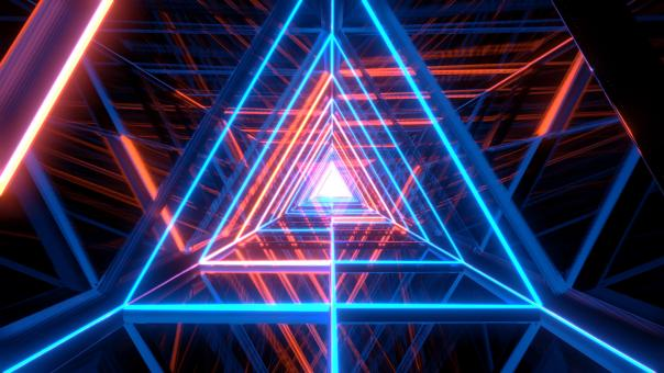 Free Stock Photo of Abstract glowing blue orange triangle wireframe background