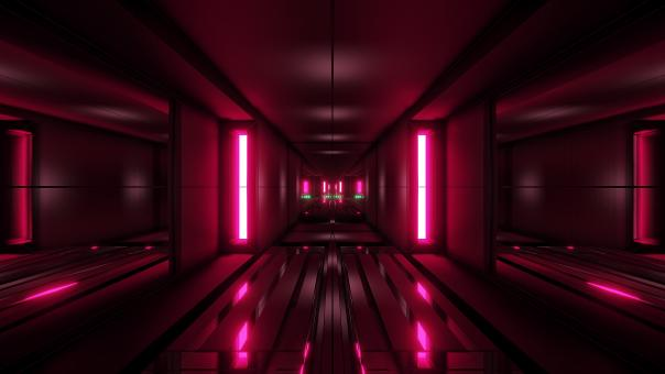 Free Stock Photo of Clean style block tunnel corridor background with red glow