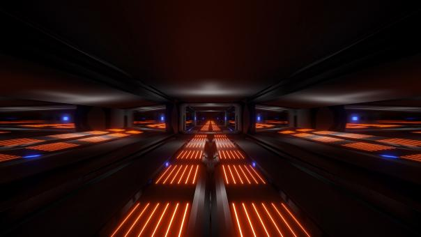 Free Stock Photo of Dark black space sci-fi tunnel with orange blue glowing lights