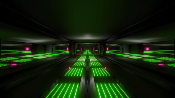 Free Stock Photo of Dark black space sci-fi tunnel with green pink glowing lights