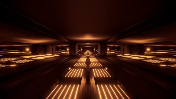 Free Stock Photo of Dark black space sci-fi tunnel with golden glowing lights