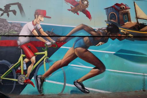 Free Stock Photo of Wall painting of sport on a French factory