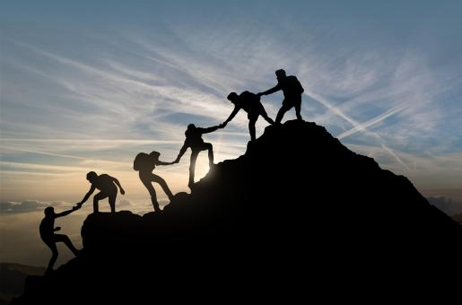Free Stock Photo of Reaching the Summit - Team Work