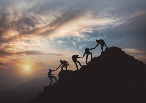 Free Stock Photo of Reaching the Summit - Teamwork - Effort - Success