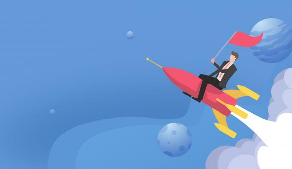 Free Stock Photo of Start-Up Concept with Businessman Riding Rocket Ship