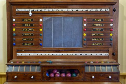 Free Stock Photo of Vintage Snooker Scoring Cabinet