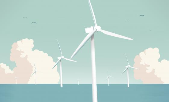 Free Stock Photo of Wind Farm at Sea - Green Energy
